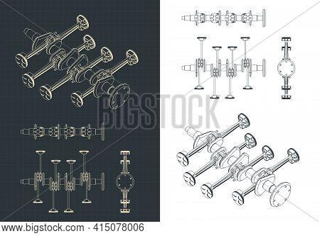 Stylized Vector Illustration Of Crankshaft And Pistons Of  Horizontally Opposed Engine Blueprints