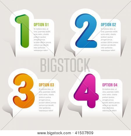 one, two, three, four options - Vector graphic design