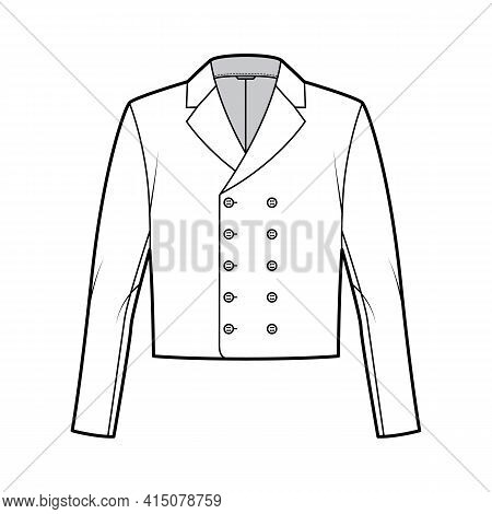 Monkey Jacket Technical Fashion Illustration With Double Breasted, Long Sleeves, Notched Collar, Wai
