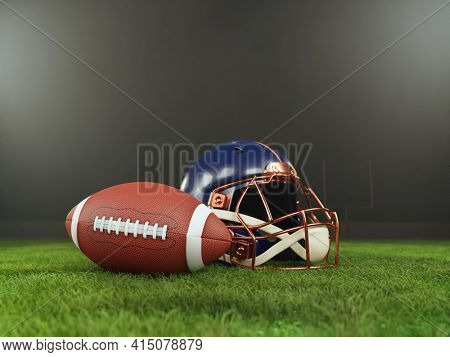 3D rendering of American football player's helmet and ball placed on grass field