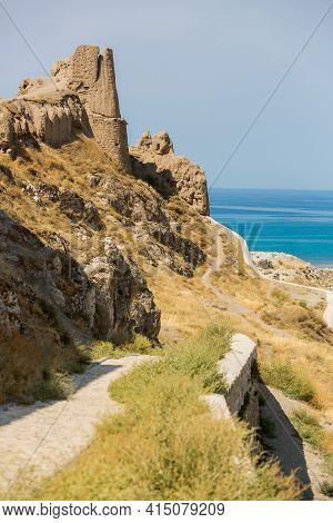 Van, Turkey, 08.26.2014: Panoramic View Of Van Castle And Lake Van. Clay Towers, Stone Walls On The