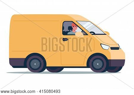 Online Delivery Service Concept, Yellow Cargo Van. Courier On The Truck. Vector Illustration In A Fl