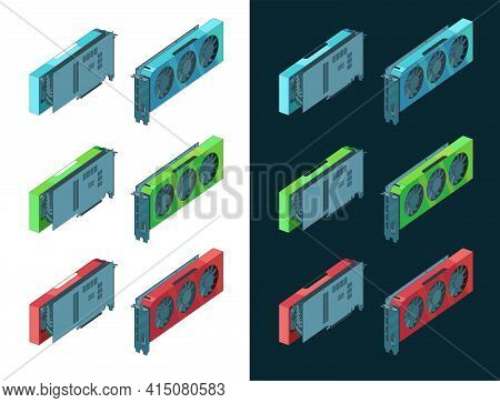 Video Cards Isometric Color Drawings Set