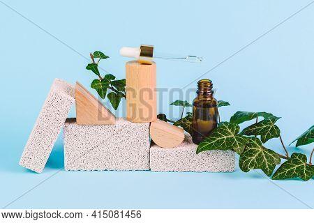 Dropper Bottle Of Natural Organic Beauty Product - Hyaluronic Acid, Serum, Moisturizing Lotion Or Fa