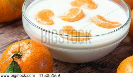 Homemade Yogurt With Fresh Fruit - Clementines, Tangerines, Oranges