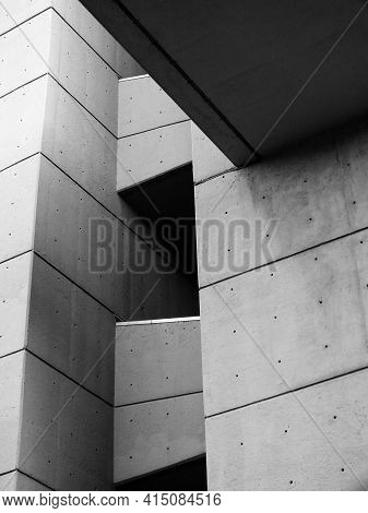 Leeds, West Yorkshire, United Kingdom - 25 April 2019: Close Up Detail Of An Angled Textured Grey Co