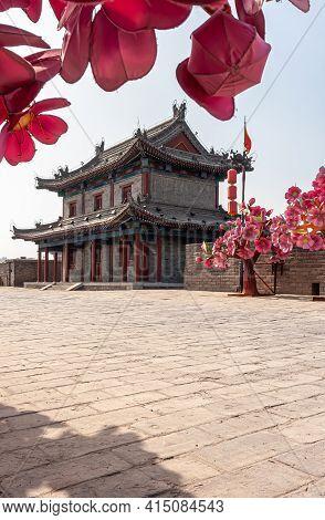 Xian, China - April 30, 2010: Huancheng City Wall. Year Of The Tiger Display. Closeup Of Fake Pink F