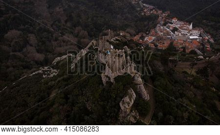 Aerial Panorama View Of Medieval Historic Moorish Castle Ruins Fortress Fortification Of Castelo Dos