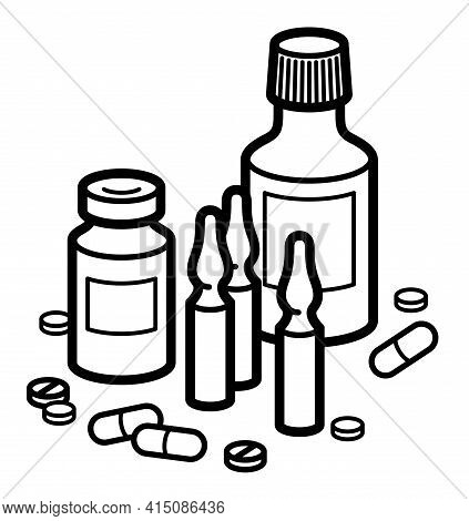 Medicine Pharmacy Theme Medical Bottles Pills And Ampules 3D Vector Illustration Isolated, Medicamen