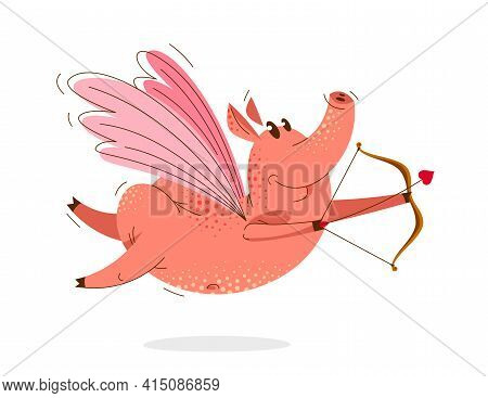 Funny Cartoon Pig With Wings Bow And Arrow Flying And Shooting Like A Cupid Vector Illustration, Val