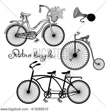 Retro Style Mono And Tandem Bicycles Hand Drawn Set Isolated Vector Illustration