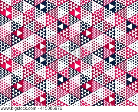 3D Cubes Seamless Pattern Vector Background, Rhombus And Triangles Dimensional Blocks, Architecture