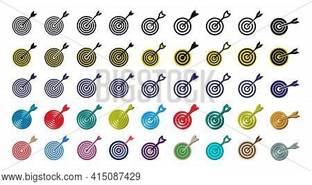 Target Sign Icon Set Vector Template. Perfection Winning Point Dartboard Multi Color Icon Set Vector