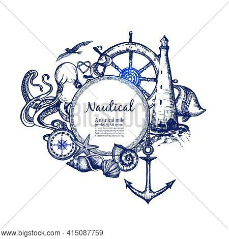 Nautical Sea Symbols Composition Doodle Design With Anchor Compass And Lighthouse In Blue Marine Abs