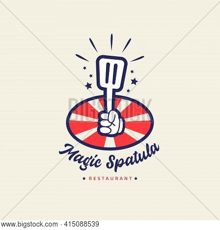 Magic Spatula Restaurant Cafe Bistro Logo With Hand Holding Magical Spatula In Cartoon Retro Vintage