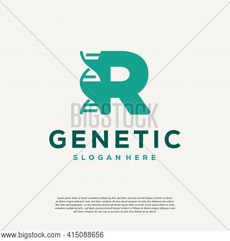 Dna Helix Letter R Logo Designs, Genetics Vector Design, Chromosome Initial Logo Template