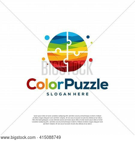 Abstract Colorful Puzzle Logo Designs Template Vector