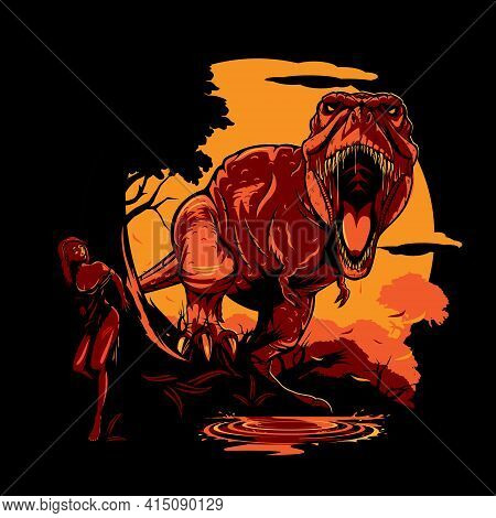 T-rex Concept Vector Illustration In Multiple Layers.