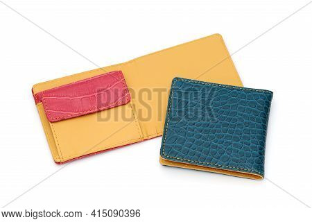 Colorful Leather Wallet Isolated On White Background