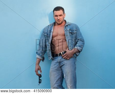 Jeanse Man Fashion. Bare Torso. Naked Male Body. Sexy Muscular Guy. Nude Abs