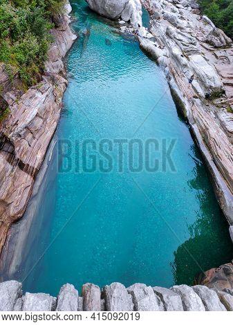 Natural Pool Of The Verzasca River Near Lavertezzo Ponte Dei Salti, Ticino, Switzerland