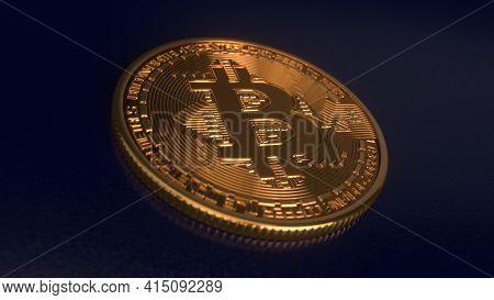 Bitcoin Crypto Currency Gold Bitcoin Btc. Bitcoin Isolated On Black Background. Blockchain Technolog