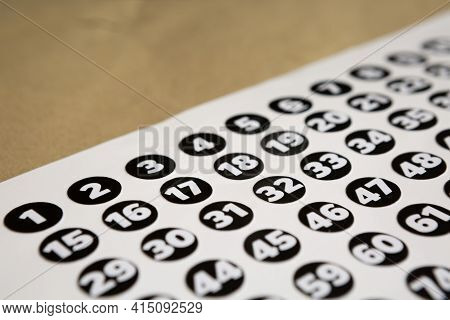 Selective Focus Of Multipurpose Number Stickers Used For Counting Things Or People And Others