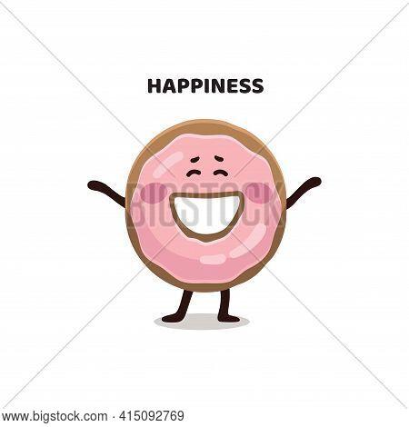 Funny Children's, Kid's Flat Digital Illustration Of Pink Glazed  Happy Donut.  Donut Character, Mas