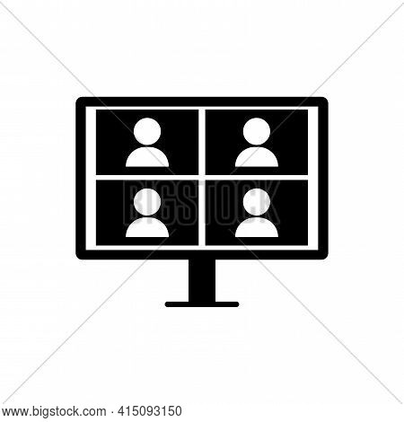 Monitor Four People. Video Conference Icon. Online Business Webinar Chat. Computer Technology. Stock