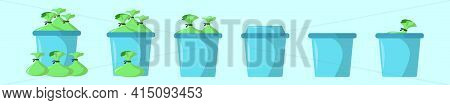 Set Of Trash And Rubbish Bag Cartoon Icon Design Template With Various Models. Modern Vector Illustr