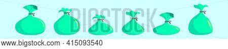 Set Of Rubbish Bag Cartoon Icon Design Template With Various Models. Modern Vector Illustration Isol
