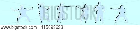 Set Of Martial Art Cartoon Icon Design Template With Various Models. Modern Vector Illustration Isol