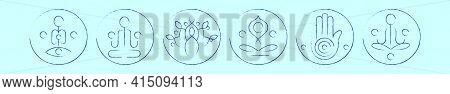 Set Of Buddhism Symbol Cartoon Icon Design Template With Various Models. Modern Vector Illustration
