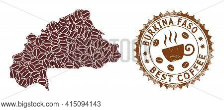 Mosaic Map Of Burkina Faso Of Coffee And Scratched Seal For Best Coffee