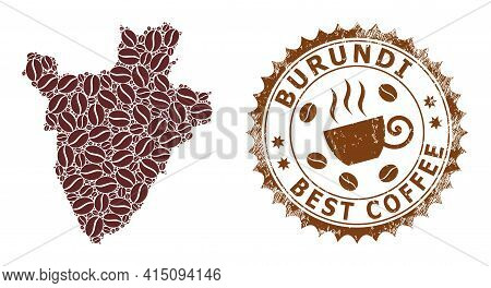 Mosaic Map Of Burundi Of Coffee And Distress Stamp For Best Coffee