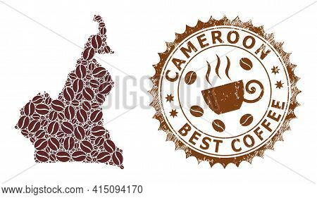 Mosaic Map Of Cameroon With Coffee And Scratched Seal For Best Coffee