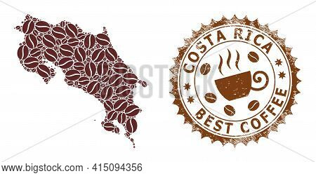 Mosaic Map Of Costa Rica Of Coffee Beans And Scratched Badge For Best Coffee