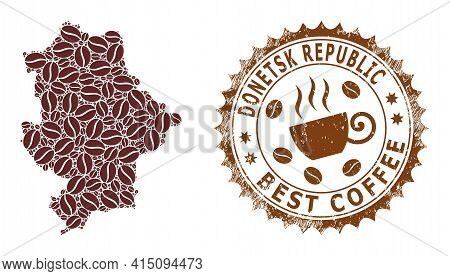 Mosaic Map Of Donetsk Republic From Coffee Beans And Scratched Stamp For Best Coffee