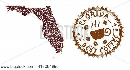 Mosaic Map Of Florida State With Coffee And Scratched Stamp For Best Coffee