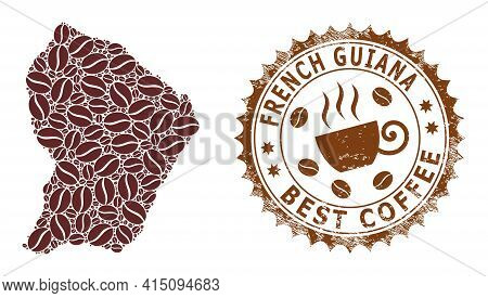Mosaic Map Of French Guiana With Coffee Beans And Distress Seal For Best Coffee