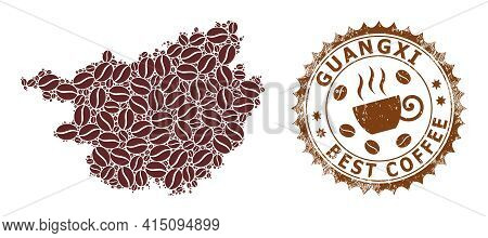 Mosaic Map Of Guangxi Province With Coffee Beans And Scratched Seal For Best Coffee
