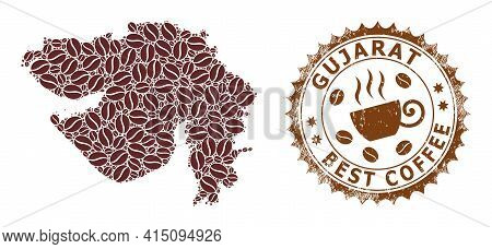 Mosaic Map Of Gujarat State Of Coffee Beans And Distress Mark For Best Coffee