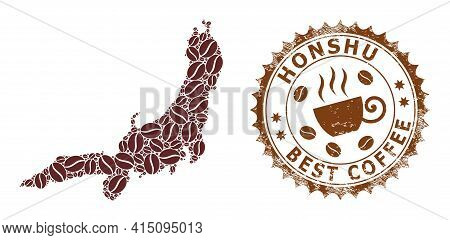 Mosaic Map Of Honshu Island With Coffee And Textured Stamp For Best Coffee