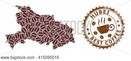 Mosaic Map Of Hubei Province Of Coffee And Textured Award For Best Coffee