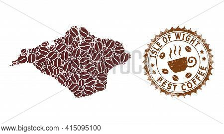 Mosaic Map Of Isle Of Wight Of Coffee Beans And Scratched Badge For Best Coffee