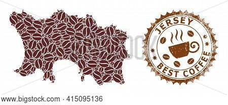Mosaic Map Of Jersey Island With Coffee Beans And Textured Mark For Best Coffee