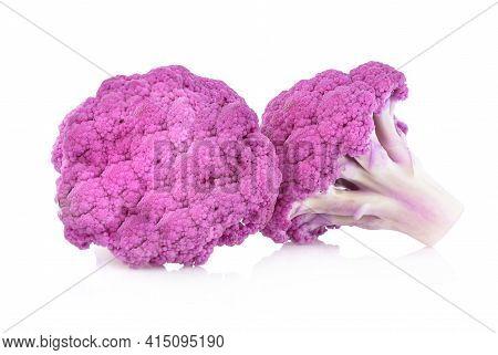 Purple Brassica Oleracea Isolated On White Background