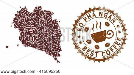 Mosaic Map Of Ko Pha Ngan With Coffee Beans And Distress Award For Best Coffee
