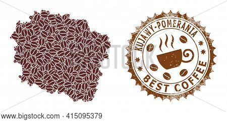 Mosaic Map Of Kuyavian-pomeranian Voivodeship With Coffee Beans And Textured Stamp For Best Coffee