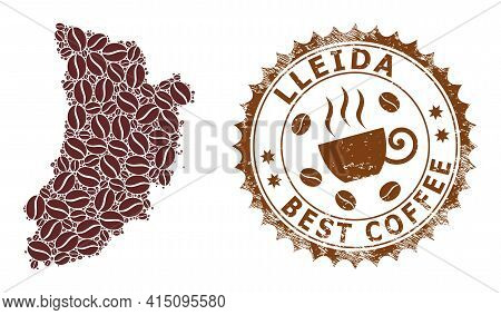Mosaic Map Of Lleida Province With Coffee And Scratched Badge For Best Coffee